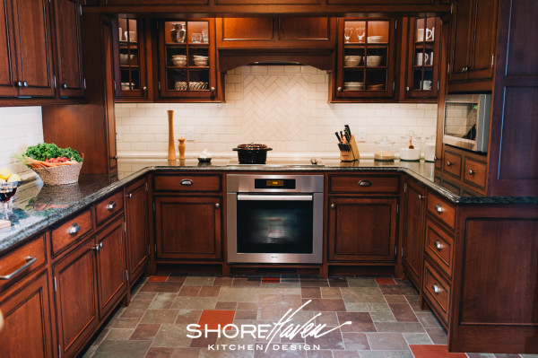 Miele cooktop and oven have plenty of surrounding counter space for meal preparation.