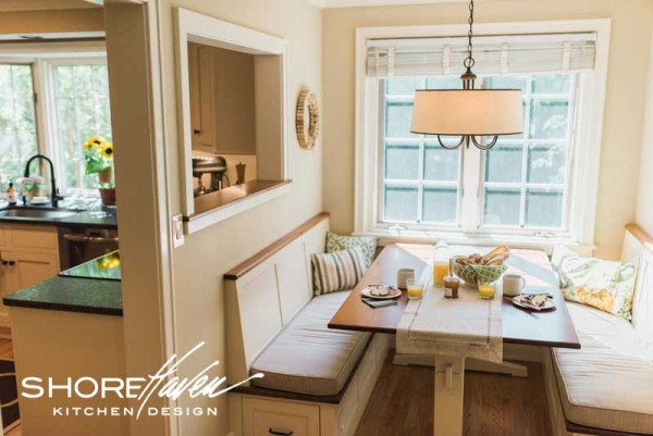 A pass-thru window between kitchen and banquette nook let light flow from room to room.
